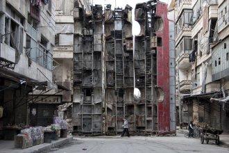 Una barricada improvisada en Alepo (Karam Al-Masri / AFP)